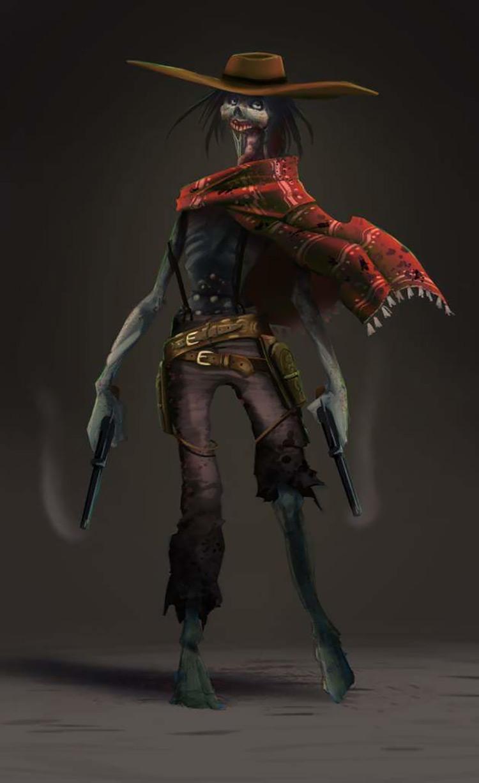 zombie gunslinger guns character concept art