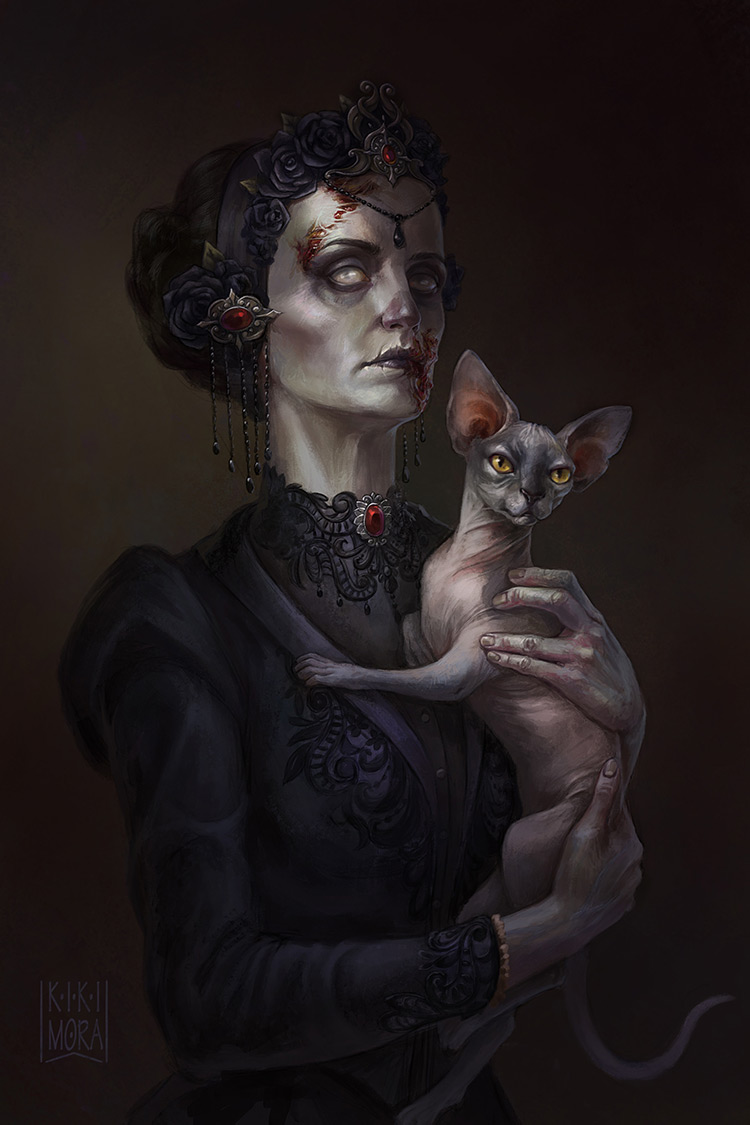 zombie countess female portrait art illustration