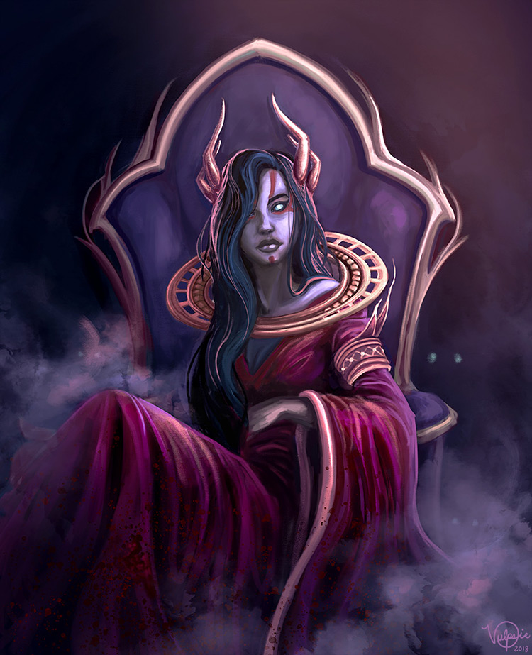 zombie witch blood queen female charcter art illustration