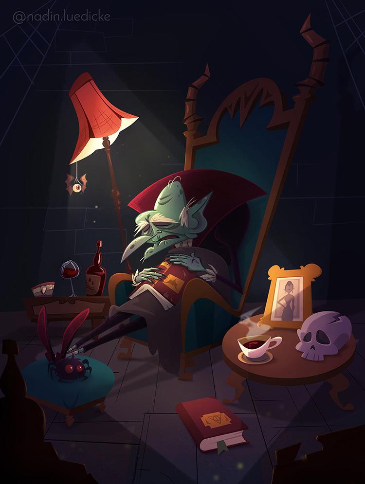 elderly vampire darcula character art illustration