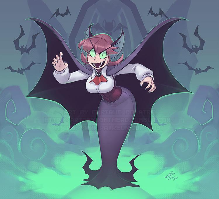 vampire girl character concept art illustration