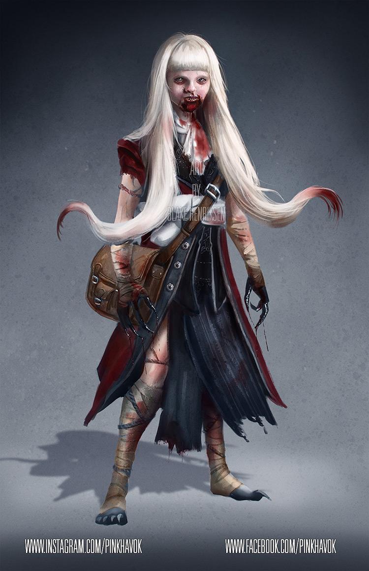 vampire girl blood creature character art illustration