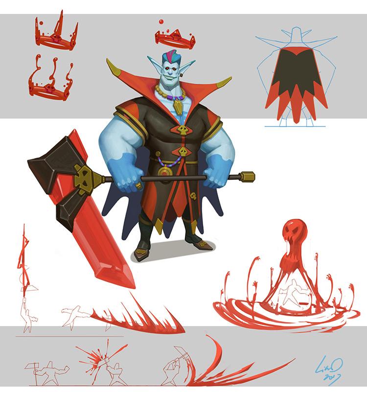 vampire creature character design concept art sketch