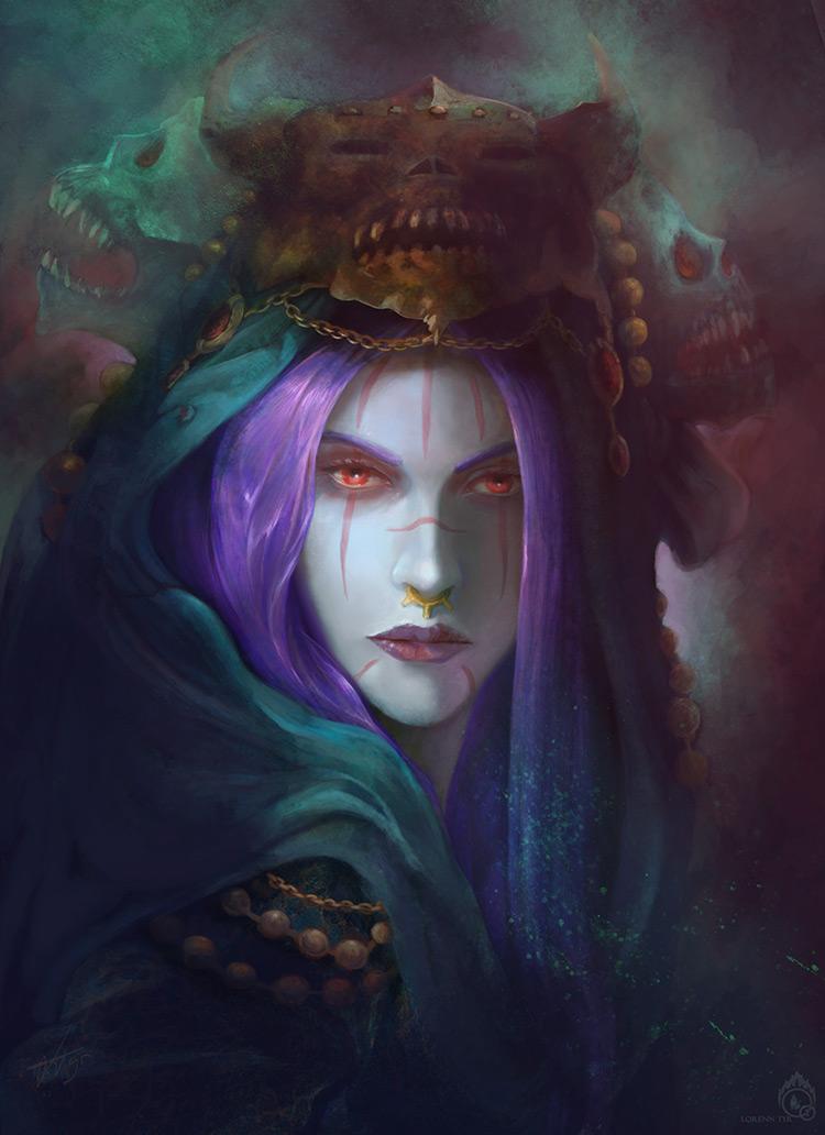 vampire arcana demon fantasy female concept art illustration