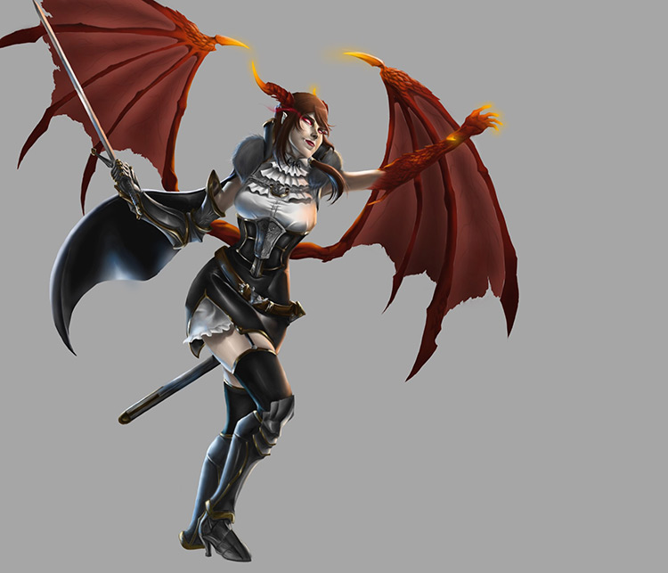 vampire dragon wings female concept art character design