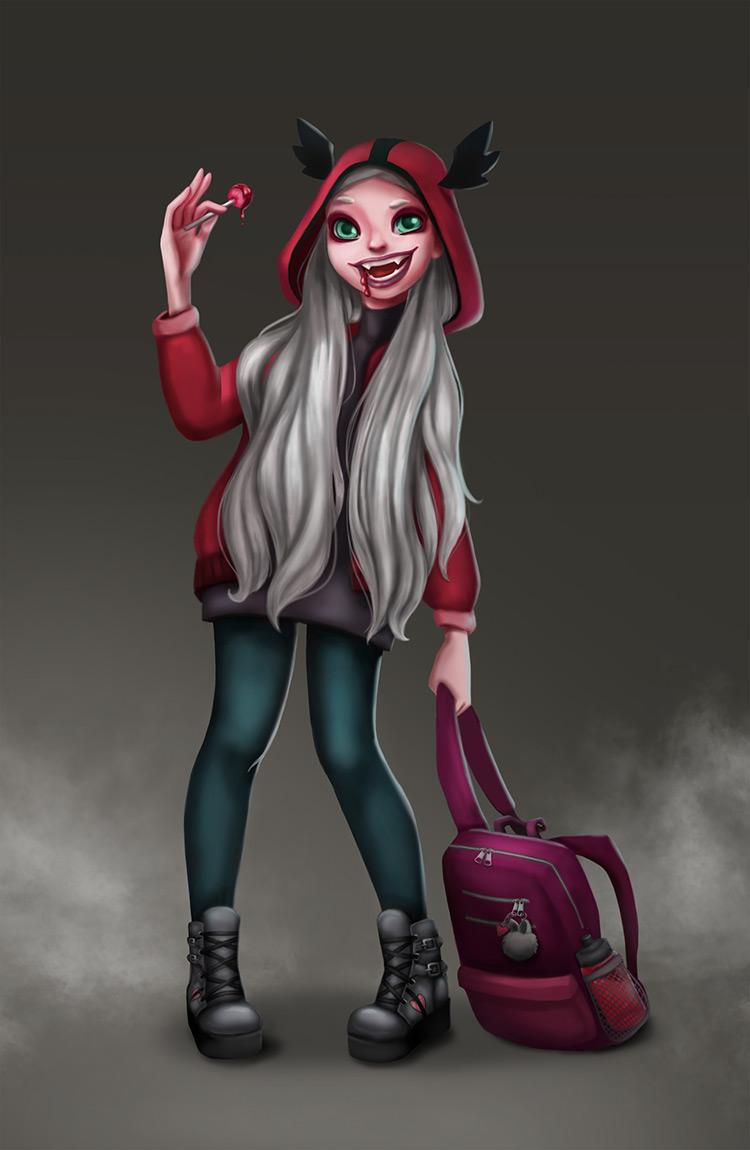 vampire girl teenager character art illustration