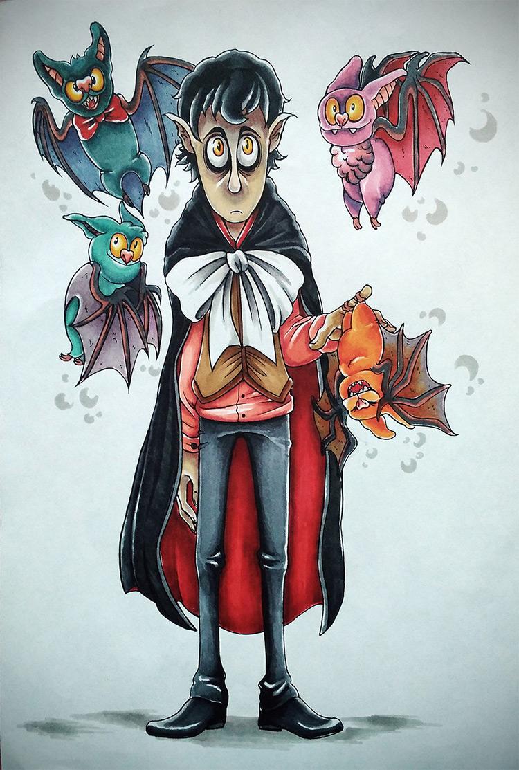 vampire boy bats concept art illustration