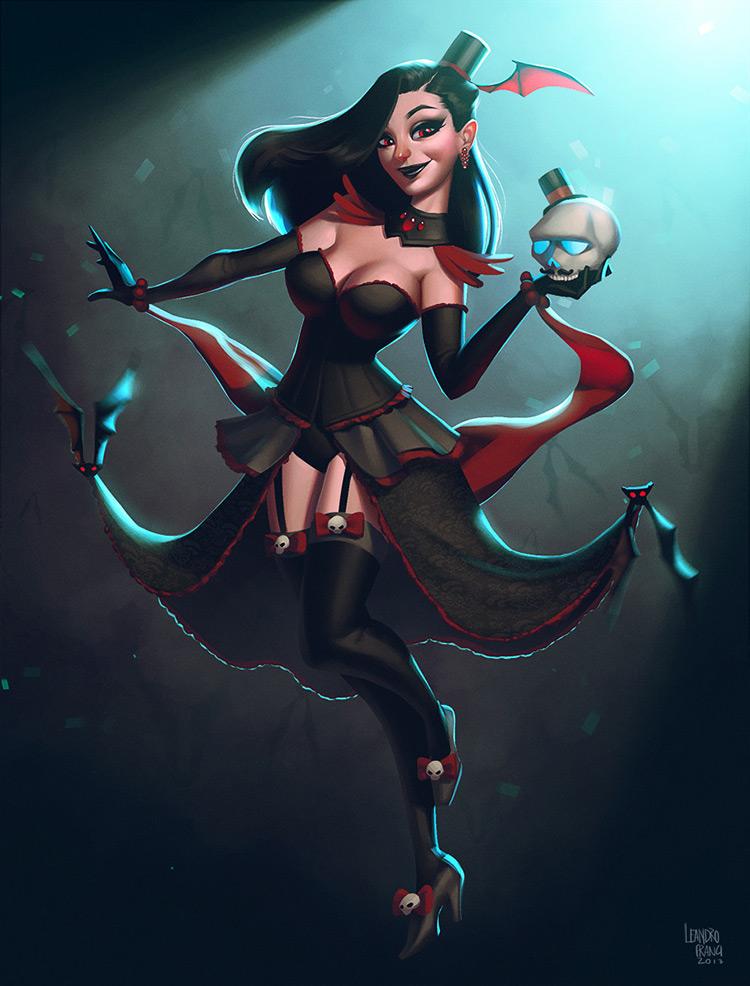 vampire dancer burlesque skull female art illustration