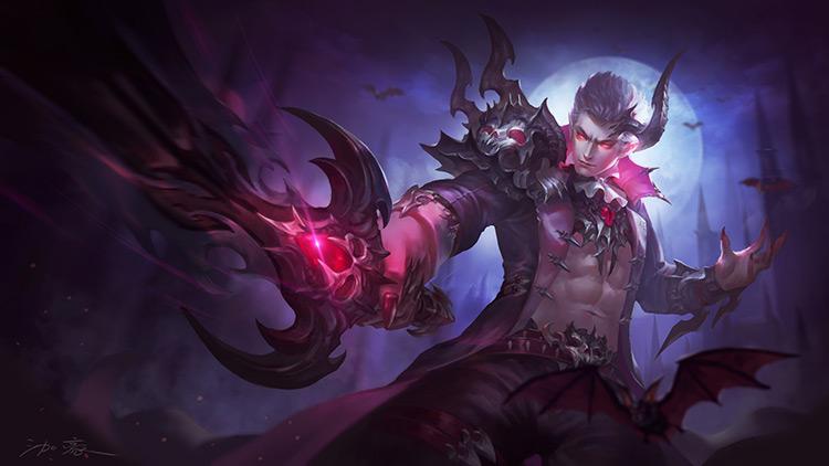 vampire duke sword horn dark character art illustration