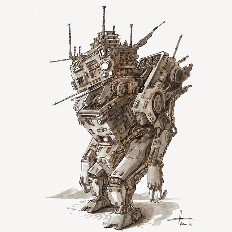 robot sci-fi concept art illustration drawing