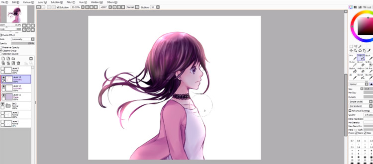 Painting shadows in PaintTool SAI