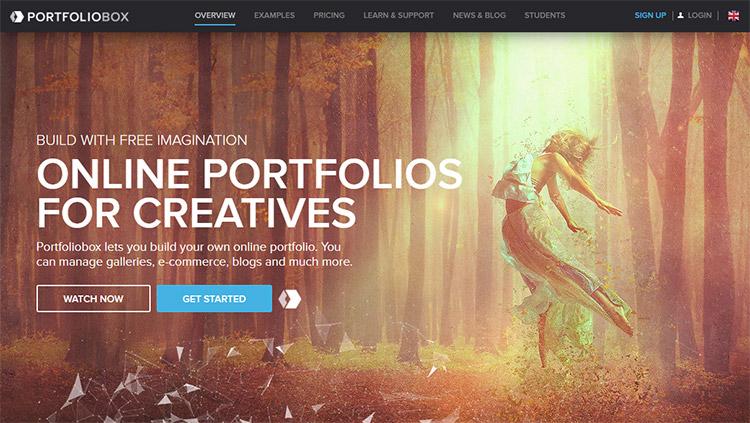 Portfoliobox homepage