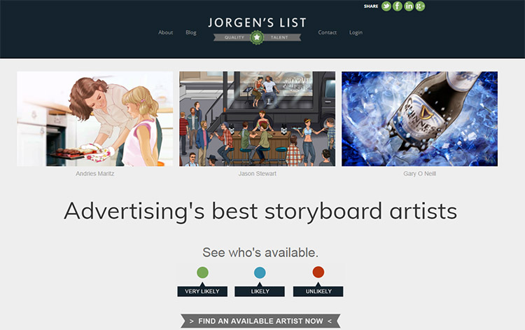Jorgens List Storyboarding Talent Website