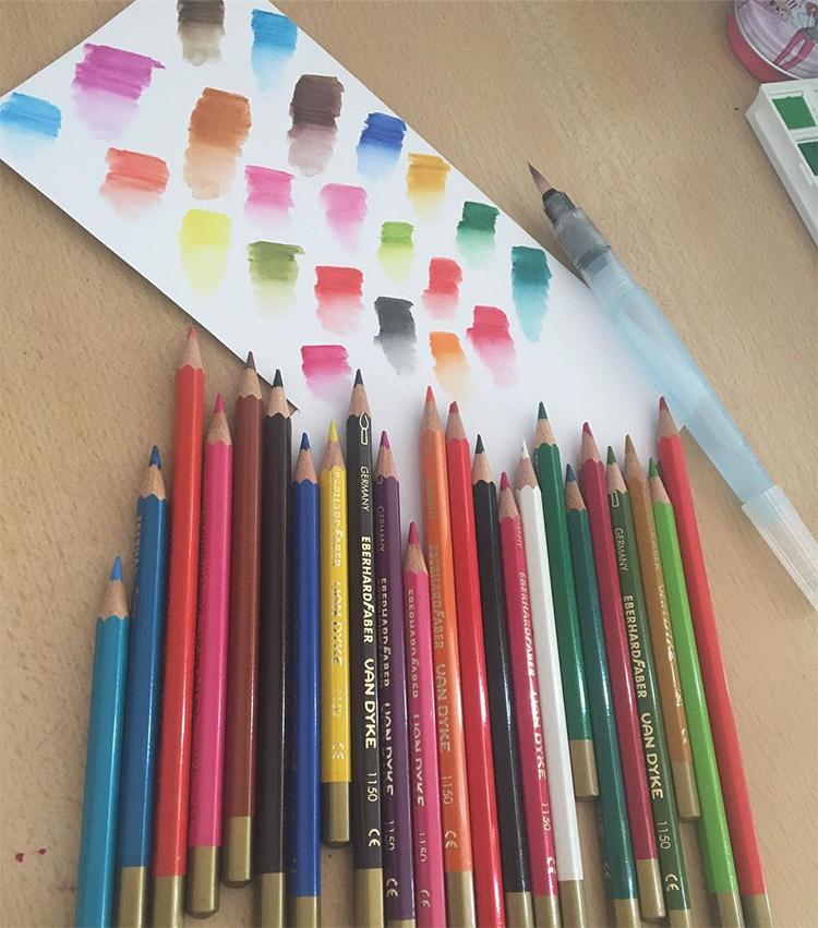 Watercolor pencil sketches example