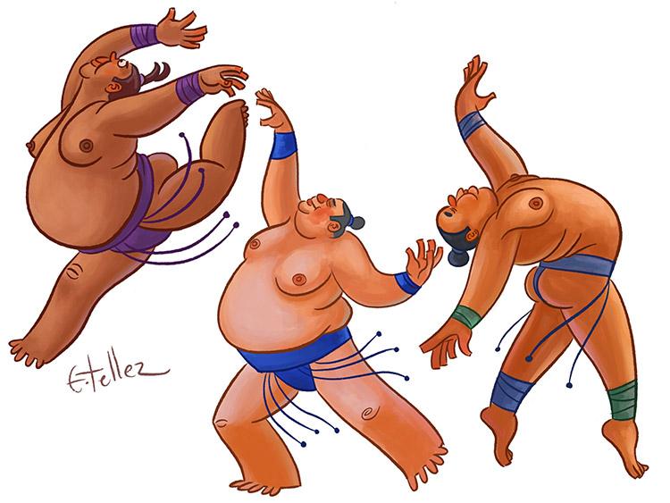 Fat sumo characters dancing