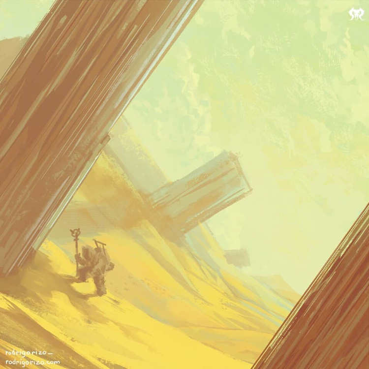 Tilted composition painting