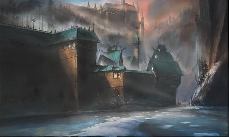 Environment dark castle painting