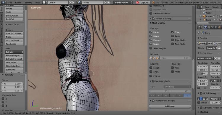 Character model render design