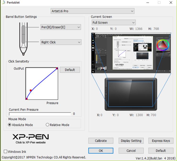 XPPen Artist16 Calibration Software