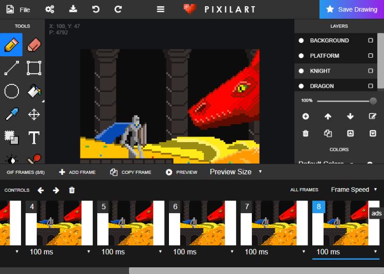 Pixilart software screenshot