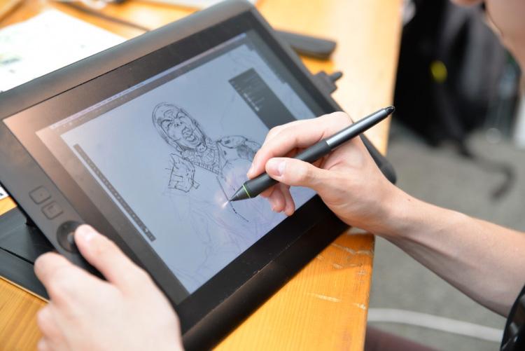 Drawing Wacom tablet display screen