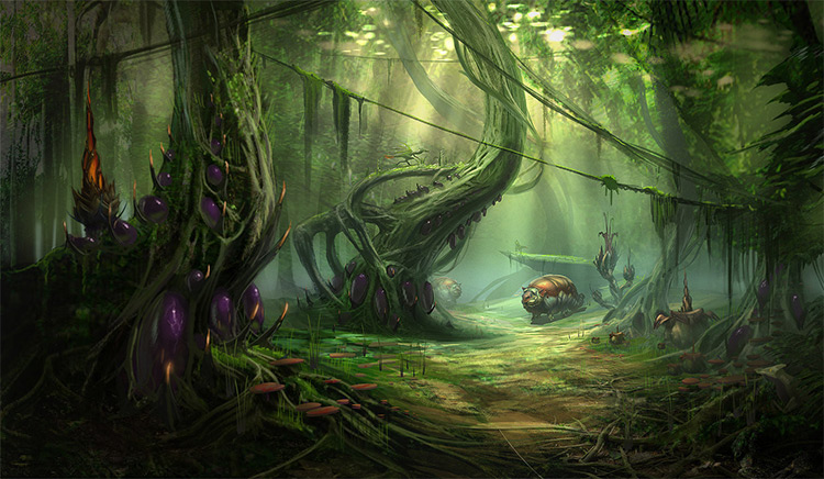 alien jungle concept art environment