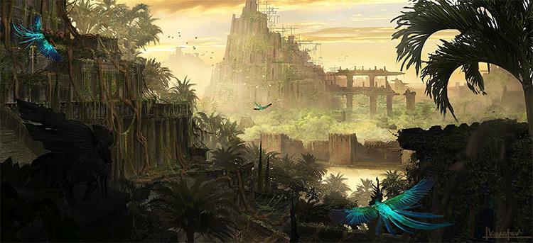 long forgotten ancient temple environment