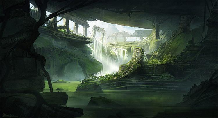 jungle ruins concept art deep shadows