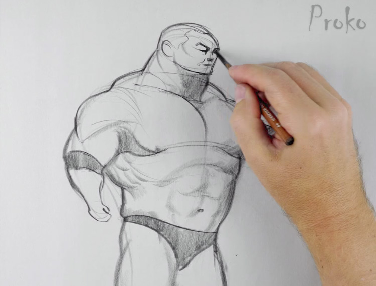 Caricature figure drawing from Proko series