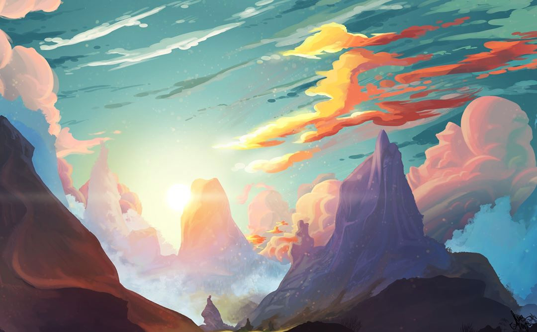 Sunset mountain matte painting