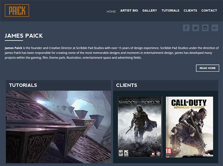 james paick website dark layout
