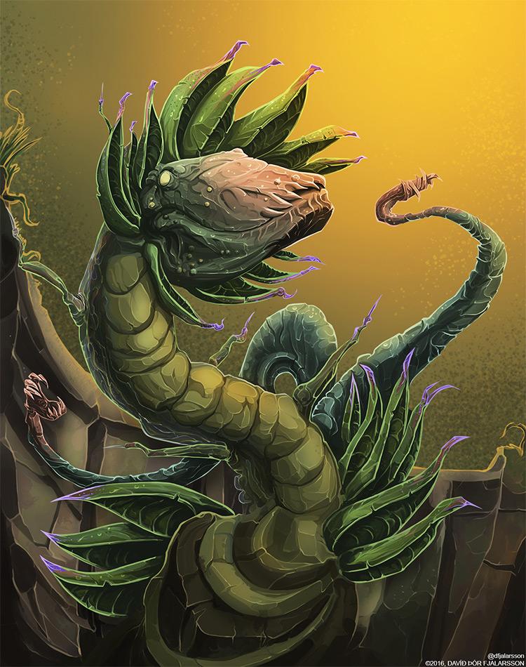 croco plant creature art