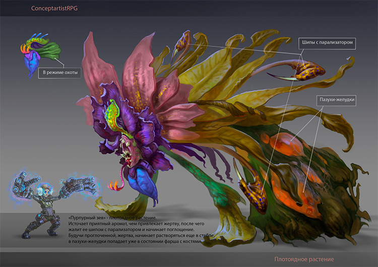 carnivorous plant colorful design