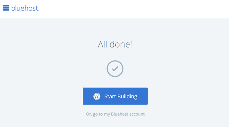 all done one-click install bluehost