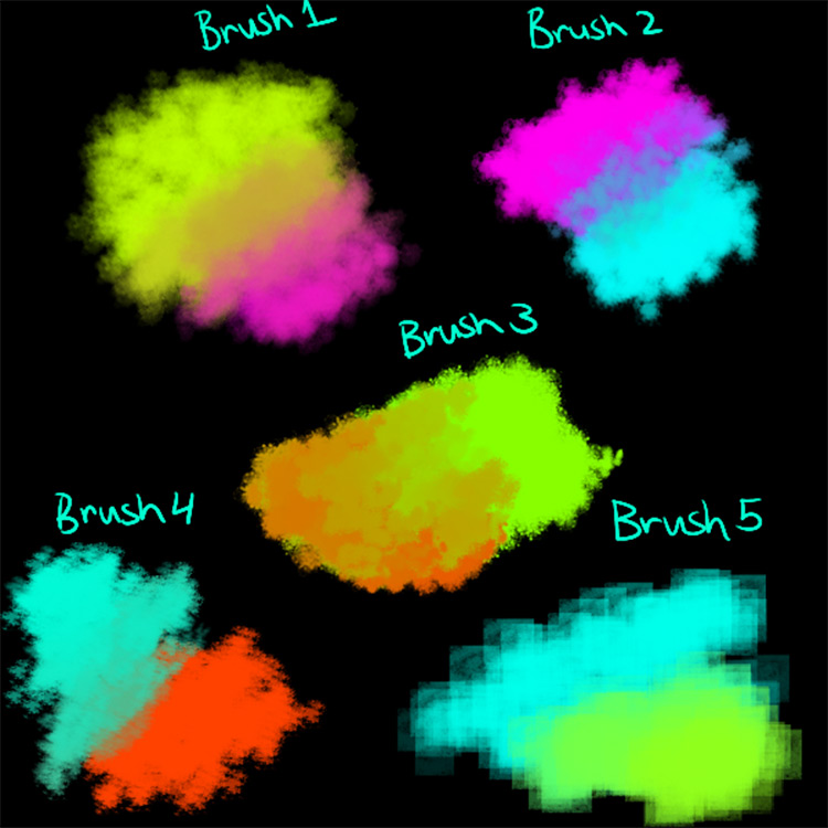 Sample watercolor brush packs