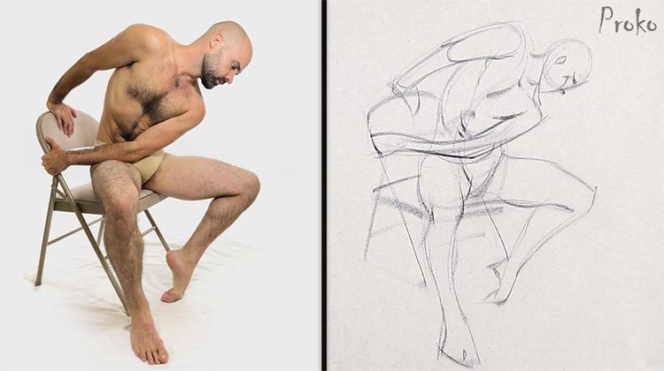 Proko example gesture drawing screenshot