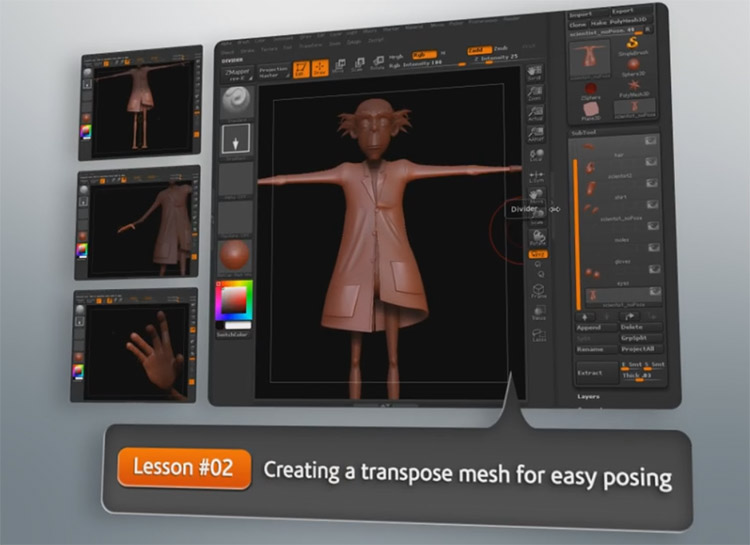 posing characters zbrush