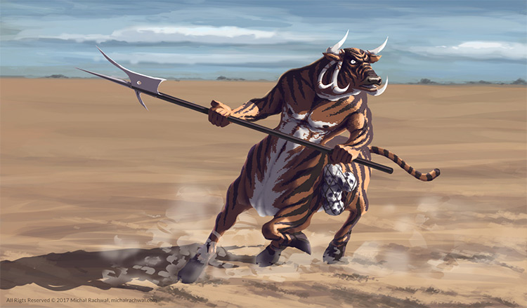 tiger stripes centaur creature