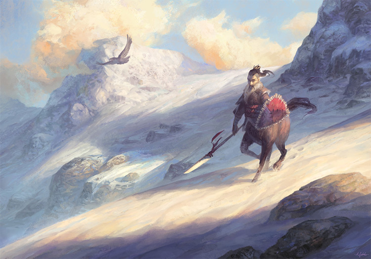 russian centaur scout in mountains
