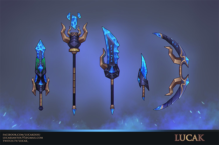 blue weapons magical art