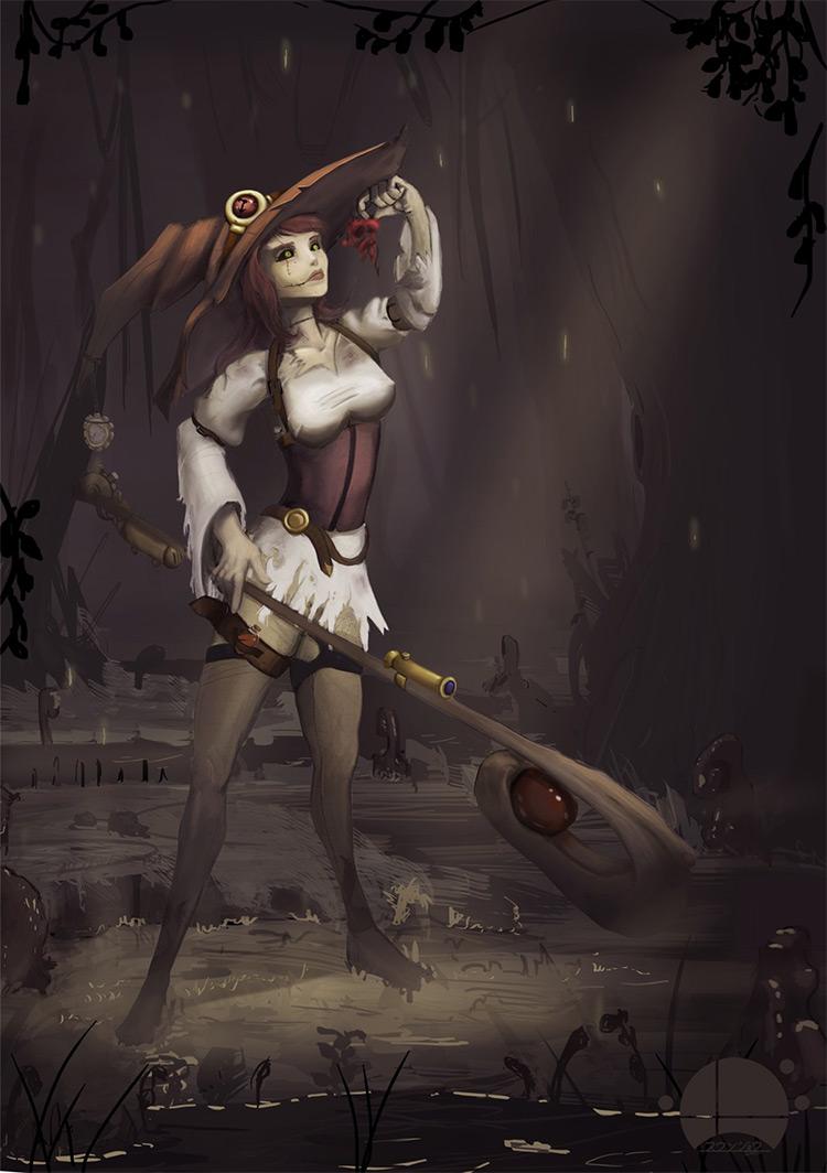 steampunk witch staff weapon