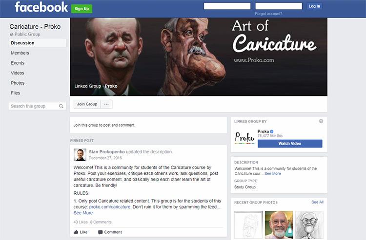 art of caricature course facebook