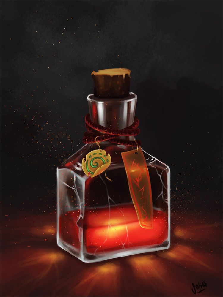 red potion bottle concept