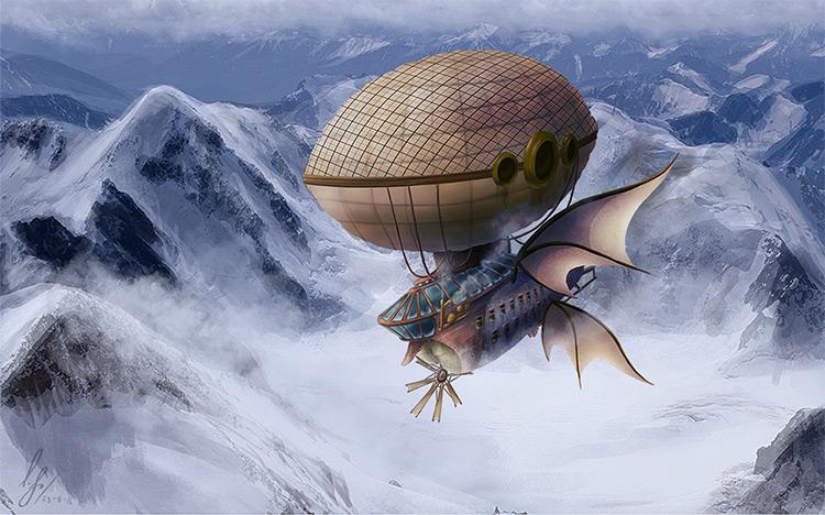 steampunk airship concept art