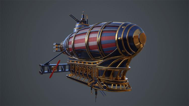 golden design flying ship