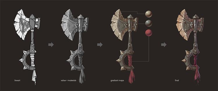 battle axe painting concept process
