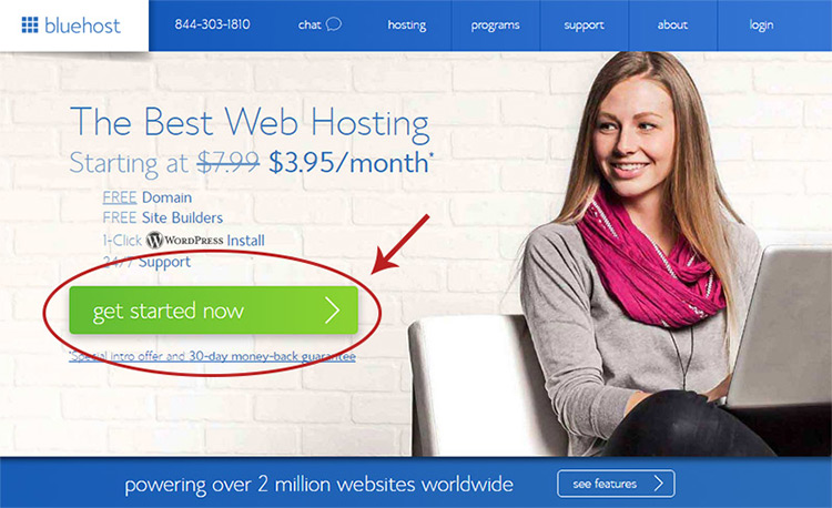 main bluehost registration page