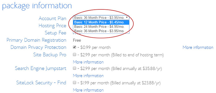change bluehost recurring fee