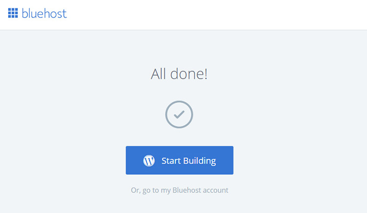bluehost signup all done