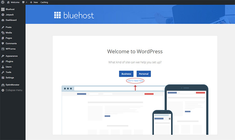 skip bluehost intro tutorial